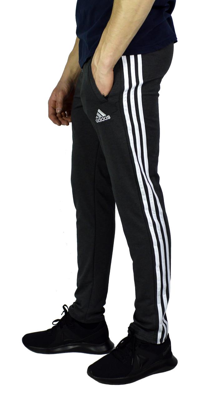Серые мужские спортивные трикотажные штаны ADIDAS зауженные