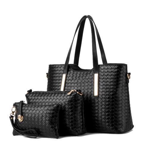 Стильный набор женских сумок с плетением, 3в1