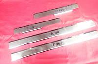 Хром накладки на пороги премиум для Chery Tiggo, Чери Тиго