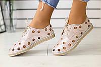 Стильные женские слипоны на весну лето  легкие удобные с перфорацией на шнуровке (бежевые) , фото 1