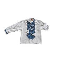 Детская белая хлопковая вышиванка для мальчика с синим орнаментом Мальчик с Коломыи Piccolo L