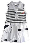 Детский сарафан для девочки с воротничком от годика до 5 лет белый в полосочку
