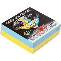 Папір для нотаток, Crystal  жовто-блакитний , неклеєний 85х85 мм. 400 арк.