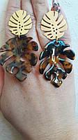 Дизайнерские серьги леопардовые листья