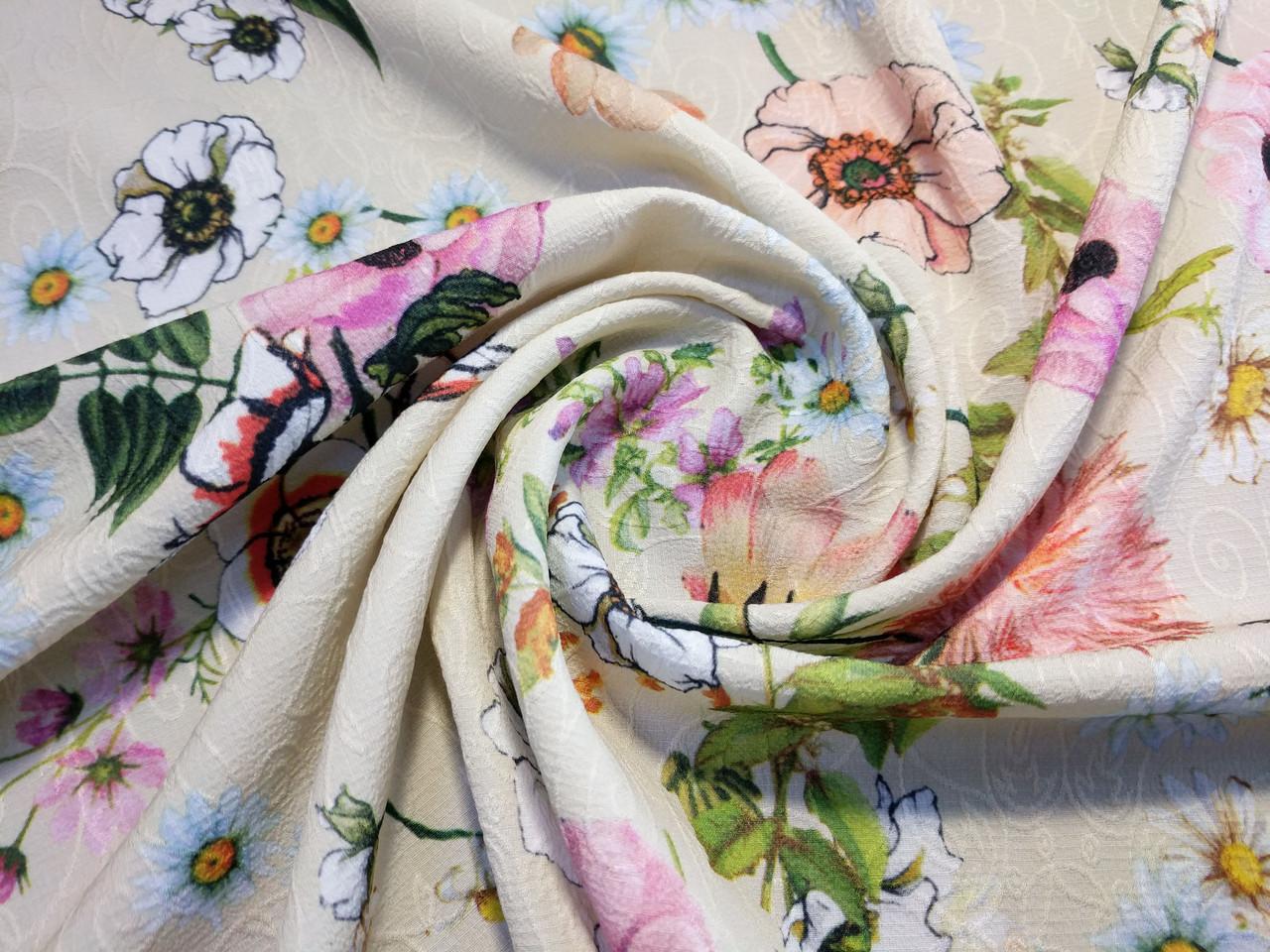 Жаккард креповый нарядный цветочная сказка, бежевый
