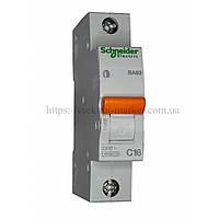Автоматический выключатель SCHNEIDER ВА63 1Р 16А 1 ПОЛЮС С 11203