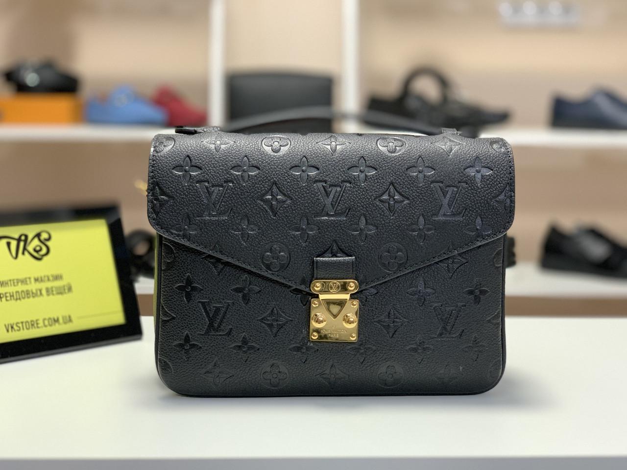 Женская сумка Louis Vuitton Pochette Metis Monogram Empreinte (Луи Виттон Пошет Метис) черная арт. 03-03