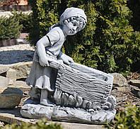 Садовая скульптура Девушка с тележкой 45*24*51 cm SS0691080-16 цвет серый., фото 1