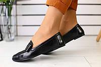 Мокасины женские летние кожаные легкие стильные удобные в черном цвете, фото 1