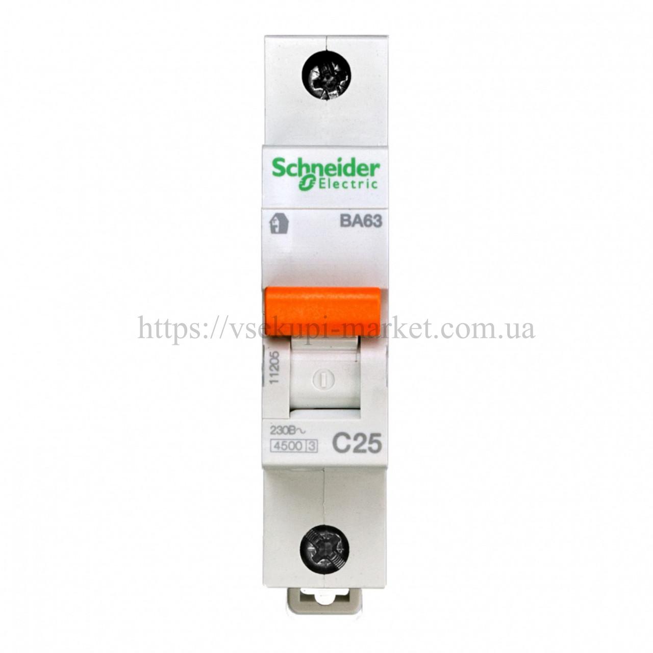 Автоматический выключательSCHNEIDER ВА63 1Р 25А 1 ПОЛЮС С 11205
