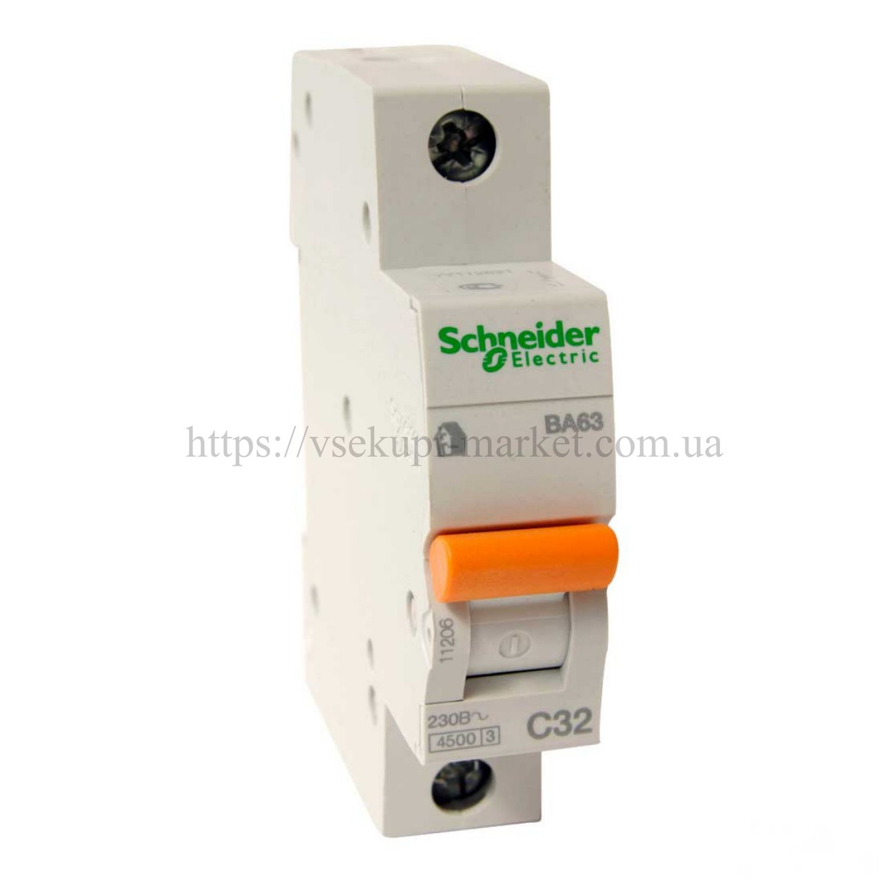 Автоматический выключатель SCHNEIDER ВА63 1Р 32А 1 ПОЛЮС С 11206