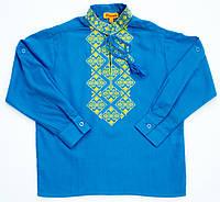 Детская голубая хлопковая рубашка для мальчика с желтой вышивкой Piccolo L