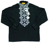 Детская черная хлопковая рубашка для мальчика с белой вышивкой Piccolo L