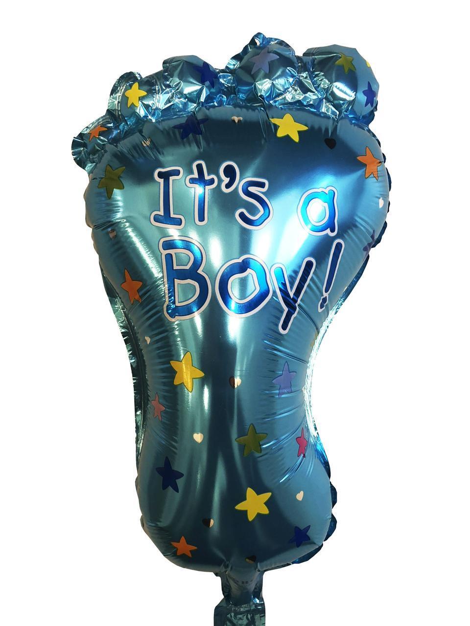 """Фольгированный мини-шарик """"Пяточка голубая"""" It`s a boy 49*24 см"""