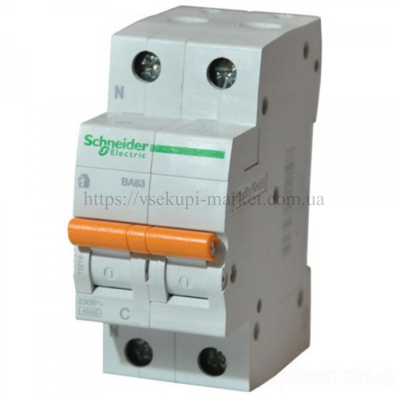 Автоматический выключатель SCHNEIDER ВА63 1Р+N 25А 2 ПОЛЮСА С 11215