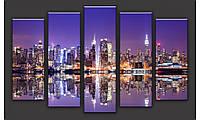 Модульная картина Ночной город-4 71х128 см (HAB-141)