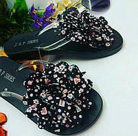 Акция Шлепки (шлепанцы ,вьетнамки) женские с цветами черные последний !! размер 36 !!