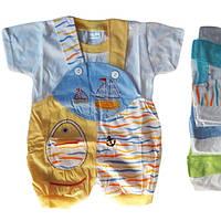 Песочник детский с футболкой для мальчика от 6 мес до 18 мес с корабликами