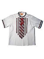 Детская белая льняная рубашка для мальчика с красной вышивкой Козачок Piccolo L