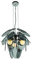 Люстра современная в стиле модерн на 3 лампы черное стекло + хром LV