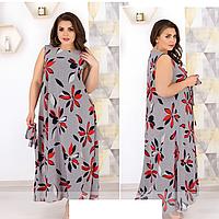 Платье макси с цветочным принтом, с 48-62 размер, фото 1