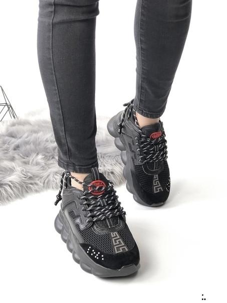 Кроссовки женские Versace черные и белые