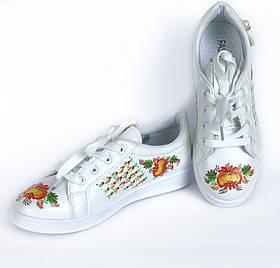 Ексклюзив! Жіночі кросівки білого кольору з Петриківським розписом Ручна робота 36-41р. 190126316-1