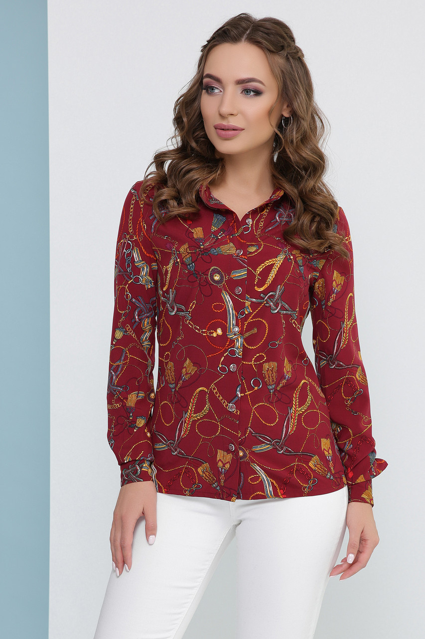 Красивая женская легкая блузка-рубашка с длинными рукавами и принтом цепи, бордовая