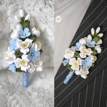 Бутоньерки свадебные, браслеты на руку