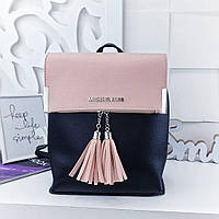3ea529dfa2db Женский рюкзак-сумка в стиле Zara пудрово-черного цвета с кисточками из  экокожи
