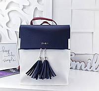c3af94286031 Женский рюкзак-сумка в стиле Zara сине-белого цвета с кисточками из экокожи