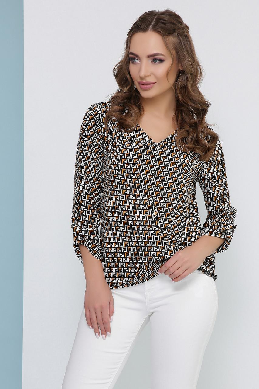 Вільна блуза з V-горловиною у дрібний візерунок з подворотами на рукавах, гірчична