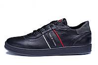 Мужские кожаные кеды Tommy Hilfiger Black Leather (реплика)