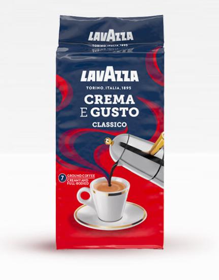 Кофе молотый Lavazza Crema e Gusto Classico 250 г в цветной упаковке