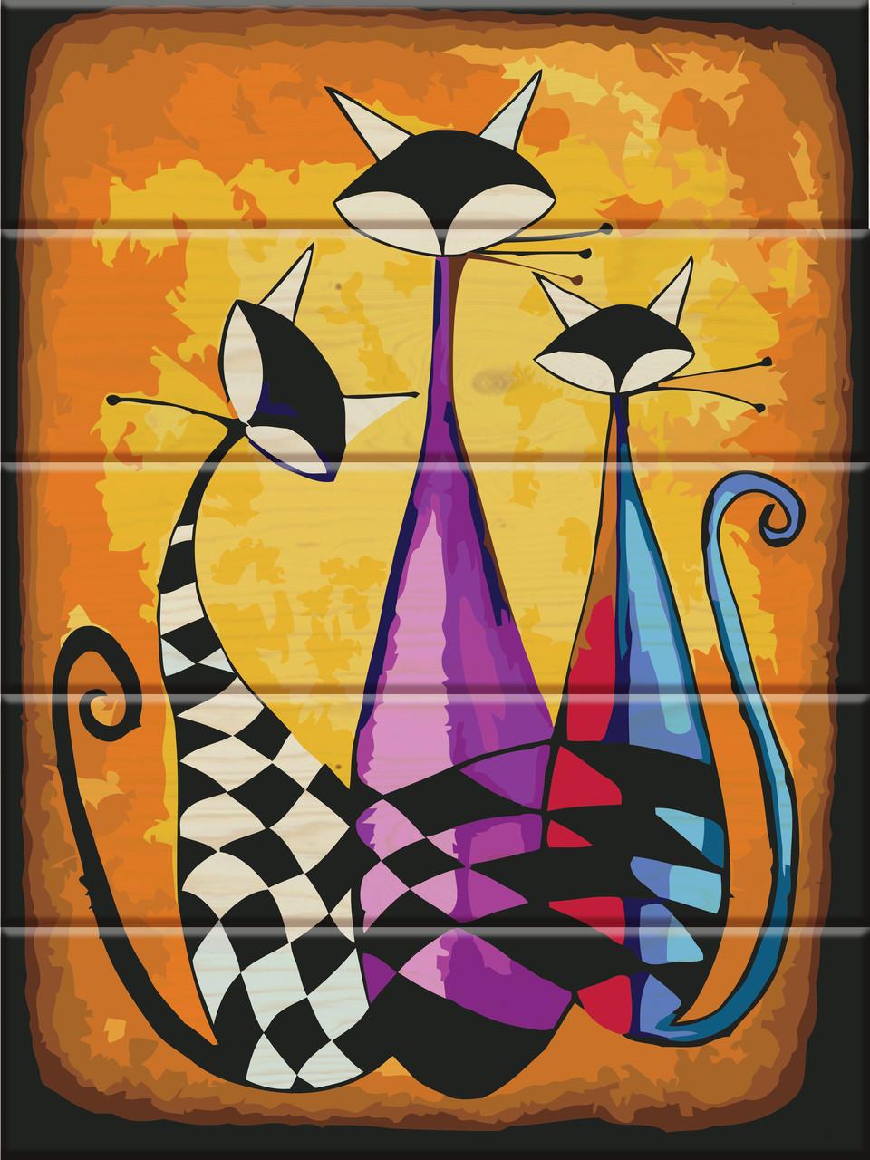 """Картина по номерам по дереву """"Три кота"""""""