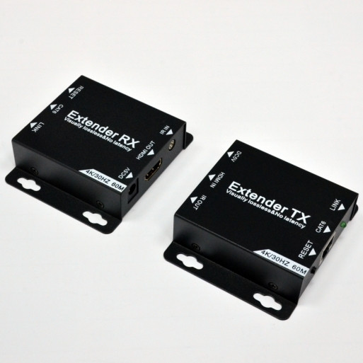 Удлинитель HDMI, 4K, IR, 60м по  кабелю UTP Cat. 6 с блоком питания