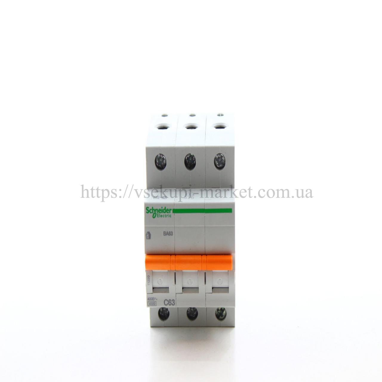 Автоматический выключатель SCHNEIDER ВА63 3Р 63А 3 ПОЛЮСА С 11229