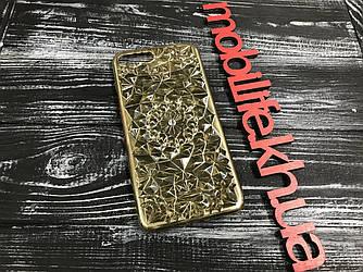 Силиконовый чехол iPhone 7Plus,8Plus Камни Gold