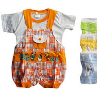 Песочник детский с футболкой оранжевый в клеточку от 6 мес до 18 мес со зверьками