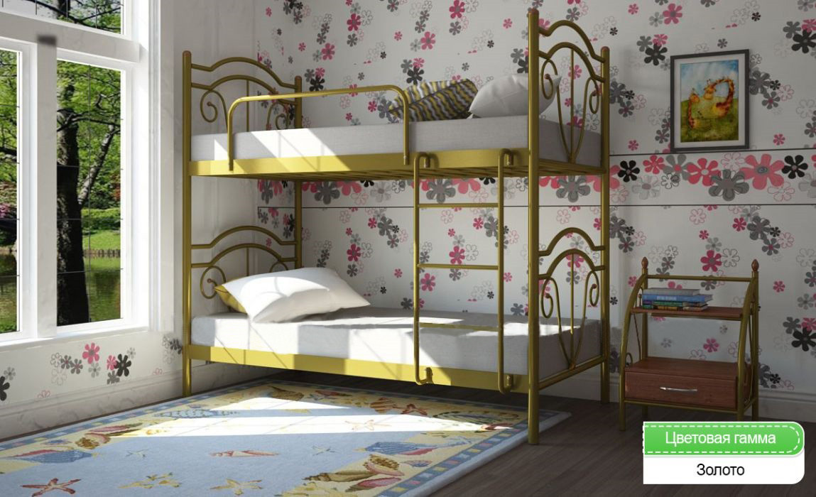Кровать двухъярусная Маргарита (разборная) 80*190/200см Мет-Диз