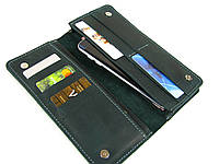 Женский кошелек клатч GS кожаный зеленый