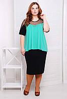 Очень красивый и удобный костюм, состоящий из классической черной юбки-карандаш большого размера 54-62 зеленый, фото 1