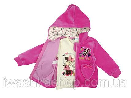 Комплектом розовая велюровая толстовка и лонгслив с Минни Маус  на девочку 6 месяцев, р. 67, Disney baby.