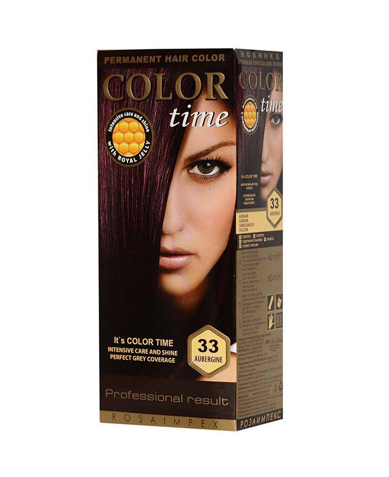 Краска для волос №33 баклажан, 100 мл, Color Time Роза Импекс