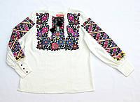 Детская белая льняная вышиванка для девочки с вышивкой Бойкивчанка Piccolo L