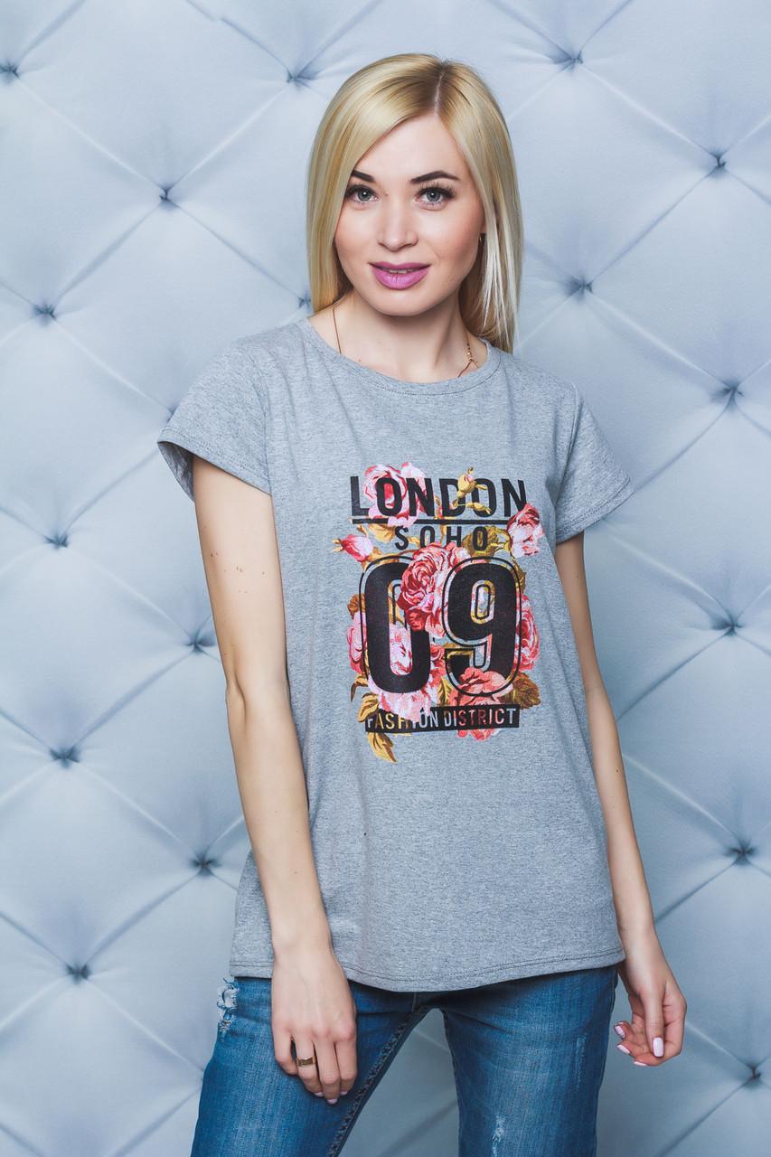 Женская футболка с печатью 09 меланж