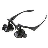 Лупа-очки бинокулярная NO.9892GJ c Led подсветкой, 10Х 15X 20X 25X