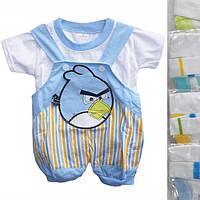 """Песочник детский с футболкой """"Angry Birds"""" от 6 мес до 18 мес голубой с белым"""