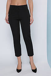 Классические женские однотонные прямые капри с карманами черные