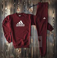 Темный мужской спортивный костюм Adidas бордового цвета